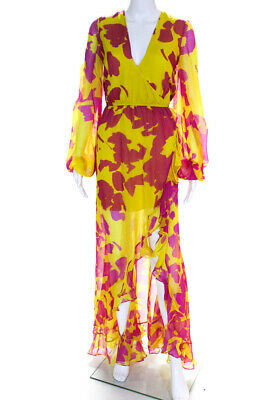 CAROLINE CONSTAS Womens Long Sleeve Print Liv Maxi Dress Yellow Size XS 13720675