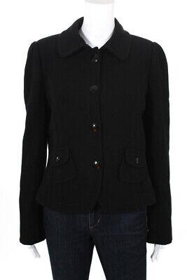 Armani Collezioni Womens Wool Long Sleeve Button Blazer Black Size 46 European