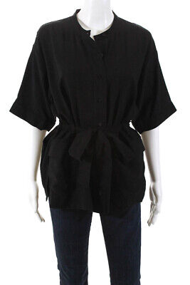 Whistles Womens Short Sleeve Button Down Blouse Top Black Size 8
