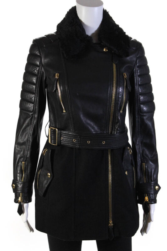 Burberry Brit Womens Wool Leather Faux Fur Belted Jacket Black Size 6