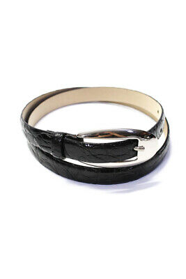 Ralph Lauren Purple Label Black Alligator Silver Oval Buckle Belt Size 36/90