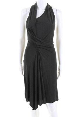 Helmut Lang Womens Sleeveless Asymmetrical Neckline Mini Dress Gray Size XS