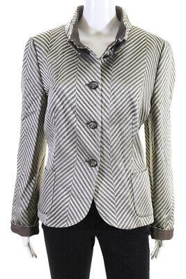 Giorgio Armani Womens Five Button Crew Neck Striped Blazer Gray Wool Size IT 48