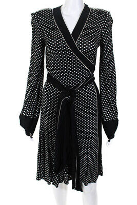 Donna Karan New York Womens Polka Dot V-Neck Long Sleeve Wrap Dress Black Size M