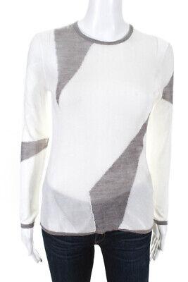 Helmut Lang Womens Asymmetrical Paneled Crewneck Sweater White Gray Size Petite