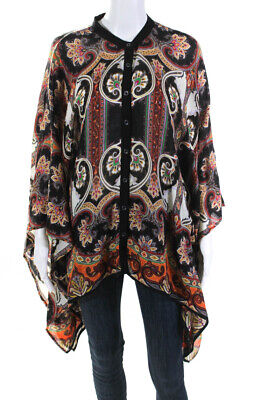 Etro Womens Printed Button Batwing Sleeve Top Black Multi Color Size Extra Large