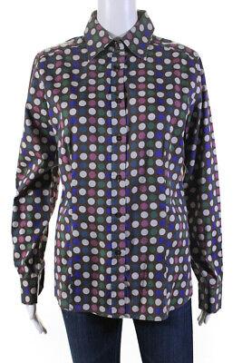 Etro Womens Polka Dot Button Down Shirt Brown Multi Colored Cotton Size EUR 48