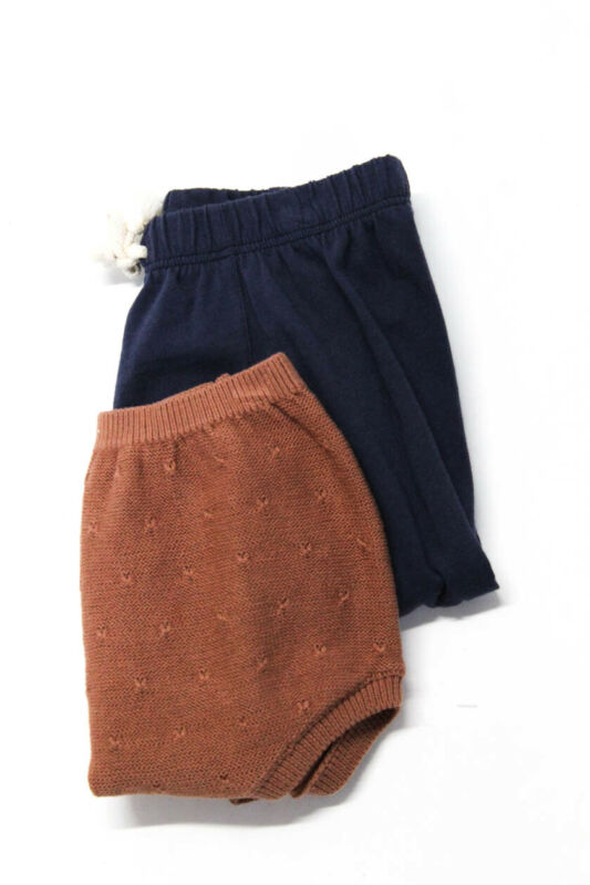 Quincy Mae Go Gently Girls Shorts Pants Brown Navy Blue Sizes 12-18M Lot 2