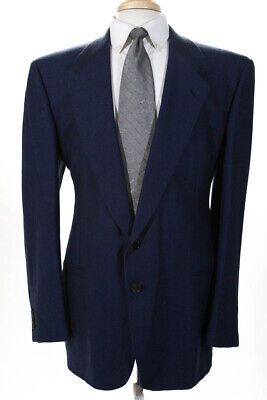 V2 By Versace Men's Two Button Collared Blazer Blue Size 56