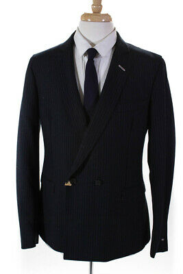 Gant Rugger Mens Pinstriped Double Breasted One Button Blazer Blue Size 52