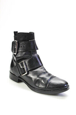 Pierre Hardy Womens Side Buckle Boots Black Leather Size 38.5 8.5