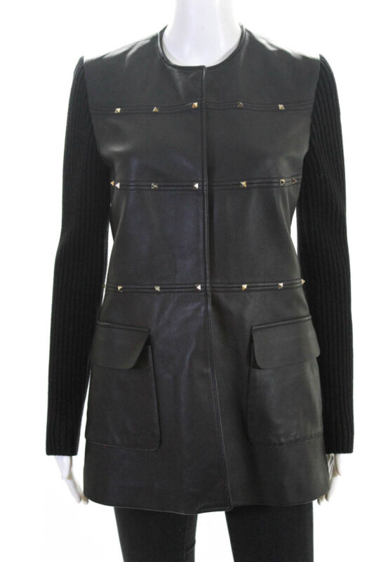 Valentino Womens Leather Knit Long Sleeve Rock Stud Jacket Black Size 6 LL19LL