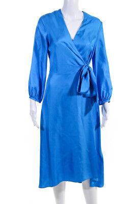 Whistles Womens Long Sleeve V-Neck Silk Wrap Dress Blue Size 6