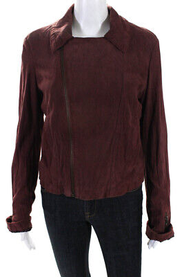 NSF Womens Casual Zip Up Long Sleeve Motorcycle Jacket Red Leather Size Medium