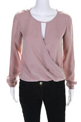 Theory Womens Silk V Neck Long Sleeve Aija Blouse Pink Size Small