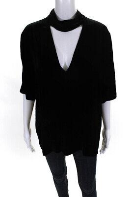 Theory Womens Velour Deep V Neck Choker Short Sleeve Tee Shirt Black Size Large
