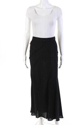 Moschino Womens Silk A Line Maxi Skirt Black Size 4