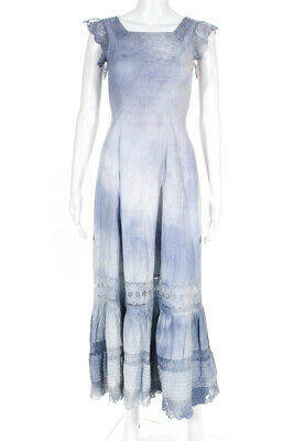 Love Shack Fancy Womens Tie Dye Lace Vintage Nightgown Maxi Dress Blue Size O/S