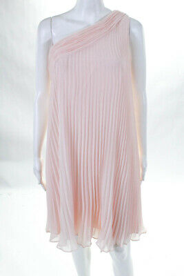 Donna Morgan Womens Asymmetrical Dress Pleated One Shoulder Pink Size 6