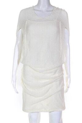 Ports 1961 Womens Layered Knit Sleeveless Sweater Dress White Size Medium