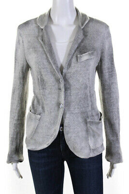 Avant Toi Womens Linen Knit Notched Collar Cardigan Sweater Gray Size M