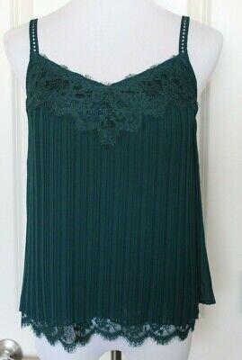 White House Black Market Womens Tank Top Cami Lace Crinkle Dark Green Size XS Black Crinkle Tank Top