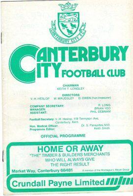 CANTERBURY CITY  V  DUNSTABLE 28/11/1981 PROGRAMME