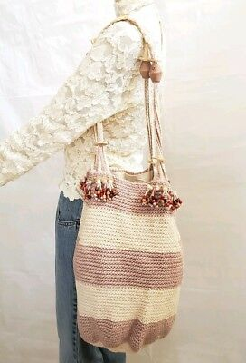 SADDLE RIVER CROCHET WOVEN BEADED HIPPIE HOBO PURSE HANDBAG TOTE 13X14