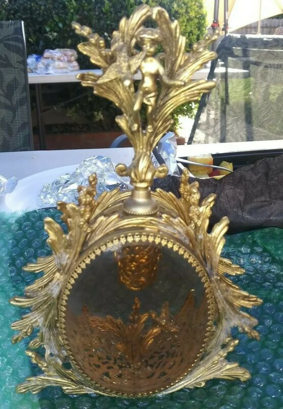 Sale! Vintage Gold Ormolu Filigree Angel Cherub PERFUME BOTTLE 1905