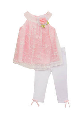 (Rare Editions Baby Girl Lace Overlay  Two-Piece Set Tunic/Capris  Sz 18 Mos NEW)