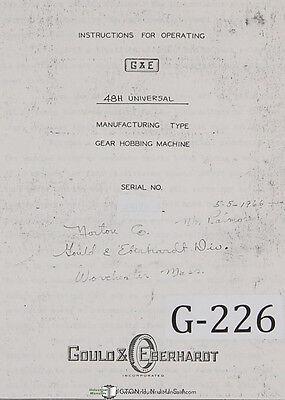 Gould Eberhardt 48h Universal Gear Hobbing Operators Manual 1966