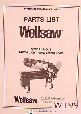 Wellsaw Model No. 8 Metal Cutting Band Saw Parts Manual