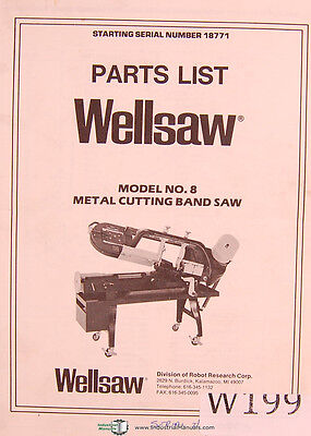 Wellsaw Model No. 8 Metal Cutting Band Saw Parts Manual