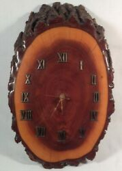 Slab Burl Wood Wall Clock Lacquered Tree Trunk Mid Century Roman Numerals Vtg