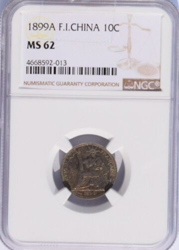 1899 A French Indo China 10 Cents, NGC MS 62, Cochin, Vietnam