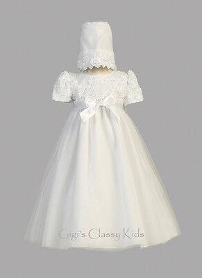 Baby Girls White Dress Gown Christening Baptism 2 Pc Bonn...