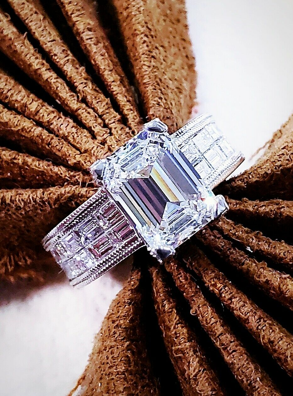 5.83 Ct Emerald Cut Diamond & Baguette Engagement Ring Round Cut Pave J,VS1 GIA