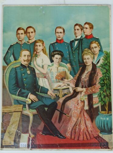 Antique 1900s Kaiser Wilhelm II Imperial Family of Germany Lithograph Picture