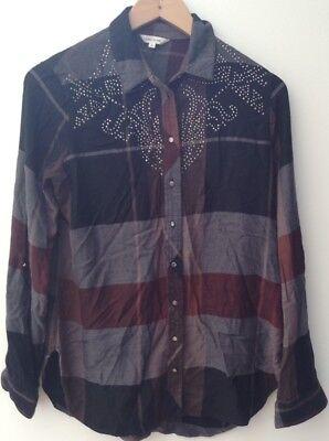Ladies Burgundy Tartan Shirt With Silver Studs Size 8 River Island <NH7468