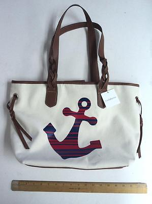 Croft & Barrow Red White Blue Anchor Tote Bag Ladie's Purse - FLASH SALE](Canvas Tote Bags Cheap)