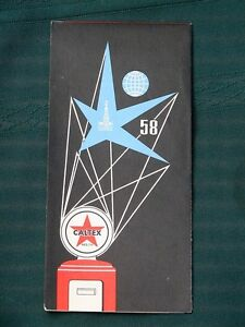 Brussels / Belgium -1958 World's Fair - Expo 58 - orig Caltex Gas Station Map