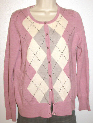 (Talbots Pure Italian Merino Wool Rose & Cream Argyle Cardigan Size Small )
