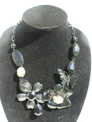 60s -70s Jewelry – Necklaces, Earrings, Rings, Bracelets Vtg 1960s Retro Mod Large Metal Black Flower Cocktail Costume Necklace $12.50 AT vintagedancer.com