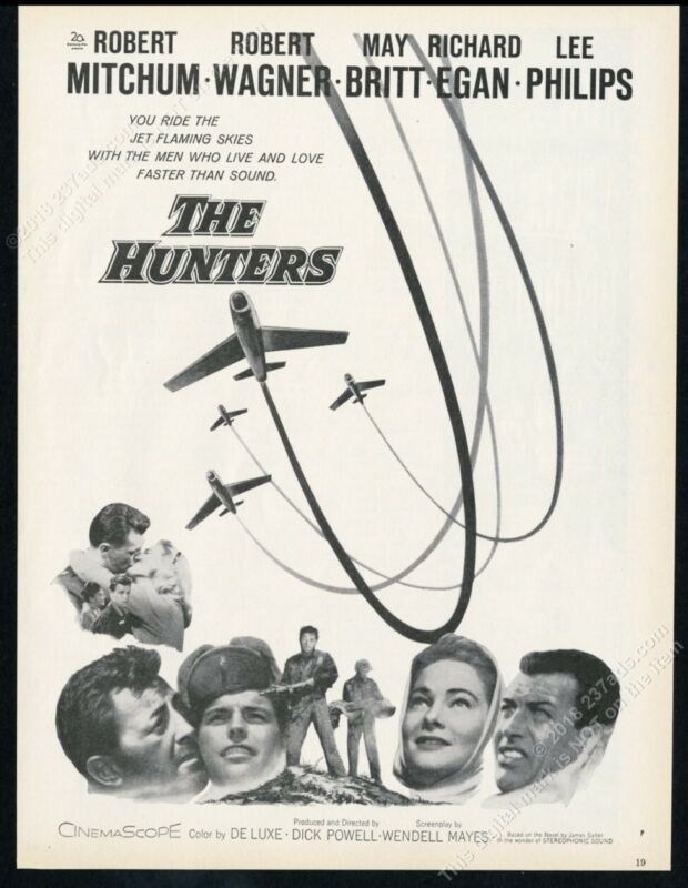1958 The Hunters movie release Robert Mitchum Wagner May Britt photo print ad