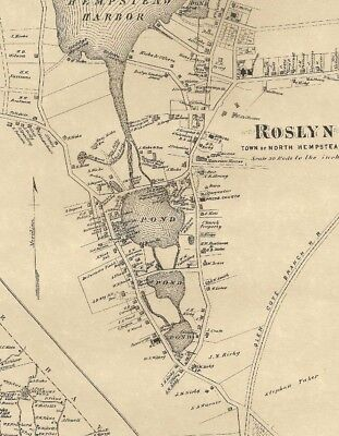 Roslyn Great Neck NY 1873 Map with Businesses and Homeowners Shown