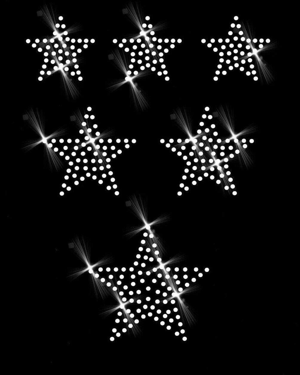Hotfix Strass Aufbügeln Bügelbild Ornament Applikation 6 Sterne Stern