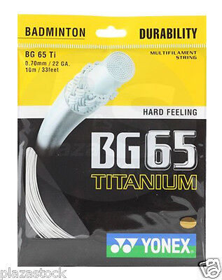 Genuine Yonex BG65 Ti Badminton String BG 65Ti - 10m - White - Free UK P&P