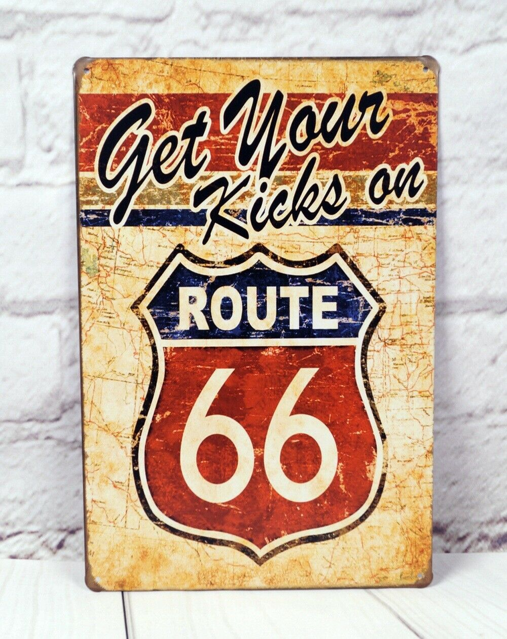 Vintage Tin Signs Route 66 Metal Panels