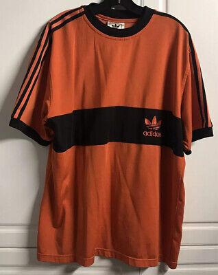 VTG ADIDAS Tricot Black Stripes Orange T Shirt SOCCER JERSEY - Large L Orange Striped Soccer Jersey