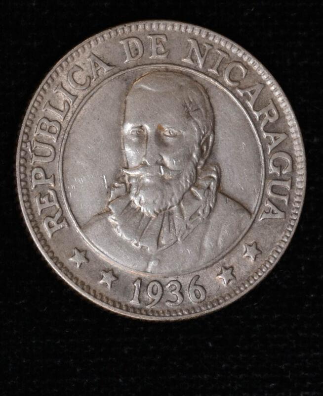 Nicaragua 25 Centavos 1936 AU/UNC silver KM#14 Scrace 100K Minted Lustrous